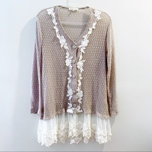 Indigo Soul Embroidery & Lace Button Cardigan M